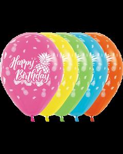 Happy Birthday Tropical Sortiment mit Metallic Tinte Latexballon Rund 11in/27.5cm