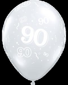 90 Crystal Diamond Clear (Transparent) Latexballon Rund 11in/27.5cm
