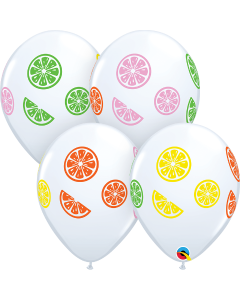 Colourful Fruit Slices White Latexballon Rund 11in/27.5cm