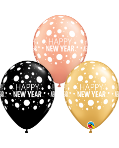 Happy New Year Dots Metallic Rose Gold and Metallic Gold Assortment Latex Round 11in/27.5cm