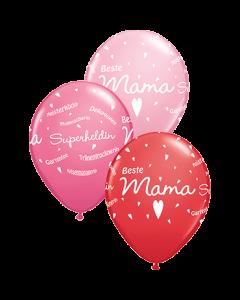 Beste Mama feiern!! Standard Red, Standard Pink und Fashion Rose Sortiment Latexballon Rund 11in/27.5cm