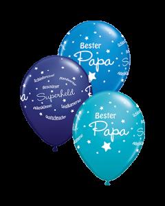 Bester Papa!! Standard Dark Blue, Fashion Tropical Teal und Fashion Navy Sortiment Latexballon Rund 11in/27.5cm