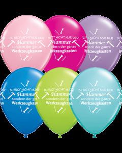 Du bist der Hammer!! Fashion Caribbean Blue, Standard Dark Blue, Fashion Lime Green, Standard Pink, Fashion Wild Berry, Fashion Spring Lilac und Crystal Diamond Clear (Transparent) Sortiment Latexballon Rund 11in/27.5cm