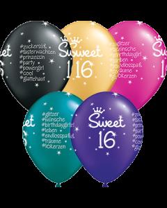Sweet 16 #Hashtag Pearl Teal, Pearl Quartz Purple, Pearl Onyx Black, Pearl Magenta and Metallic Gold Sortiment Latexballon Rund 11in/27.5cm