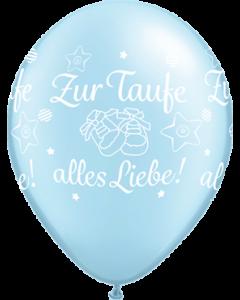 Zur Taufe alles Liebe! Pearl Light Blue Latexballon Rund 11in/27.5cm