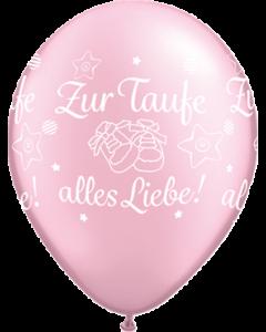 Zur Taufe alles Liebe! Pearl Pink Latexballon Rund 11in/27.5cm