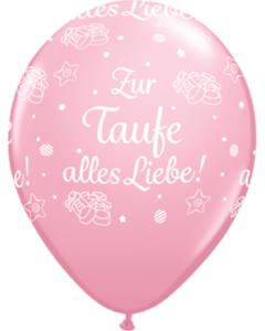 Zur Taufe alles Liebe! Standard Pink Latexballon Rund 16in/40cm