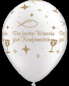 Die besten Wünsche zur Konfirmation Pearl White w/Gold Ink Latexballon Rund 11in/27.5cm