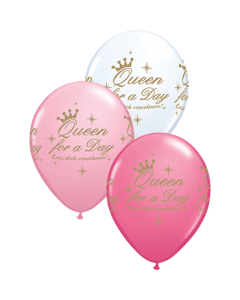 Queen For A Day Standard Pink,  White und Rose Sortiment Latexballon Rund 11in/27.5cm