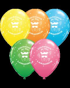 Lamagisch Fashion Rose, Fashion Robin's Egg Blue, Standard Yellow, Fashion Spring Green und Standard Orange Sortiment Latexballon Rund 11in/27.5cm