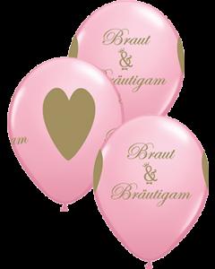 Braut & Bräutigam Standard Pink Latexballon Rund 11in/27.5cm