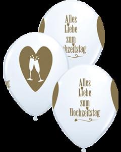 Alles Liebe zum Hochzeitstag Standard White w/Gold Ink Latexballon Rund 11in/27.5cm
