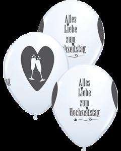 Alles Liebe zum Hochzeitstag Standard White w/Anthrazit Latexballon Rund 11in/27.5cm