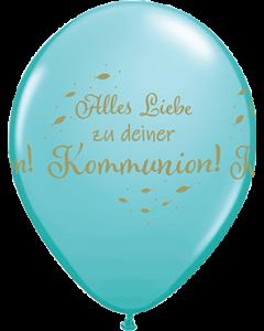 Alles Liebe Zu Deiner Kommunion Fashion Caribbean Blue Latexballon Rund 11in/27.5cm