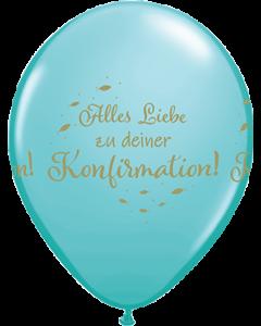 Alles Liebe Zu Deiner Konfirmation Fashion Caribbean Blue Latexballon Rund 11in/27.5cm