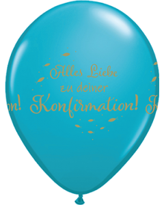 Alles Liebe Zu Deiner Konfirmation Fashion Tropical Teal Latexballon Rund 11in/27.5cm