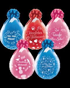 Herzlichen Glückwunsch, Alles Gute Zur Hochzeit, Ein Paar Mäuse, Zur Taufe alles Liebe und Herzlichen Glückwunsch Hearts Crystal Diamond Clear (Transparent) Latexballon Rund 18in/45cm