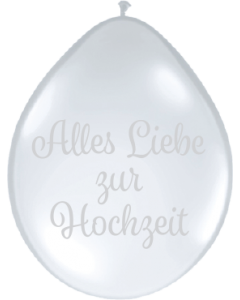 Alles Liebe Zur Hochzeit Crystal Diamond Clear (Transparent) Neck Up Latexballon Rund 5in/12.5cm