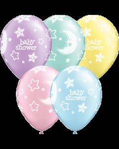 Baby Shower Moon und Stars Pastel Pearl Sortiment Latexballon Rund 11in/27.5cm