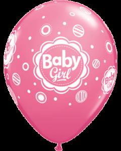 Baby Girl Dots Fashion Rose Latexballon Rund 11in/27.5cm