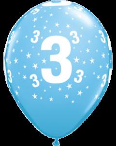 Age 3 Stars Standard Pale Blue Latexballon Rund 11in/27.5cm