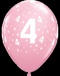 Age 4 Stars Standard Pink Latexballon Rund 11in/27.5cm