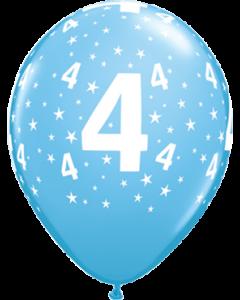 Age 4 Stars Standard Pale Blue Latexballon Rund 11in/27.5cm