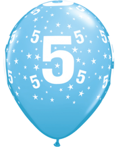 Age 5 Stars Standard Pale Blue Latexballon Rund 11in/27.5cm