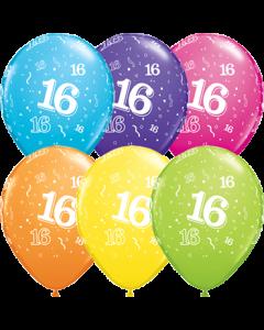 16 Retail Sortiment Latexballon Rund 11in/27.5cm