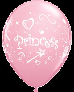 Princess Standard Pink Latexballon Rund 11in/27.5cm