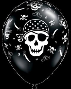 Pirate Skull und Cross Bones Fashion Onyx Black Latexballon Rund 11in/27.5cm