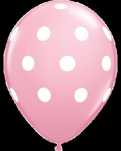 Big Polka Dots Standard Pink Latexballon Rund 11in/27.5cm
