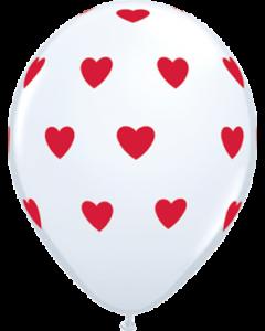 Big Hearts Standard White Latexballon Rund 11in/27.5cm