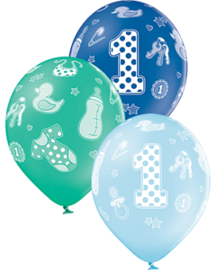 1st Birthday Boy Pastel Sky Blue, Pastel Forest Green und Royal Blue Sortiment Latexballon Rund 12in/30cm