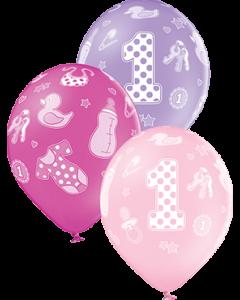 1st Birthday Girl Pastel Pink, Pastel Lavender und Pastel Rose Sortiment Latexballon Rund 12in/30cm