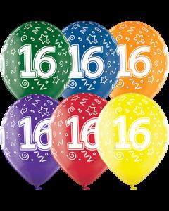 16th Birthday Crystal Green, Crystal Yellow, Crystal Orange, Crystal Royal Red, Crystal Quartz Purple und Crystal Blue Sortiment (Transparent) Latexballon Rund 12in/30cm
