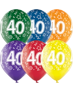40th Birthday Crystal Green, Crystal Yellow, Crystal Orange, Crystal Royal Red, Crystal Quartz Purple und Crystal Blue Sortiment (Transparent) Latexballon Rund 12in/30cm