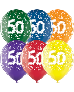 50th Birthday Crystal Green, Crystal Yellow, Crystal Orange, Crystal Royal Red, Crystal Quartz Purple und Crystal Blue Sortiment (Transparent) Latexballon Rund 12in/30cm