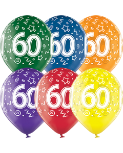 60th Birthday Crystal Green, Crystal Yellow, Crystal Orange, Crystal Royal Red, Crystal Quartz Purple und Crystal Blue Sortiment (Transparent) Latexballon Rund 12in/30cm