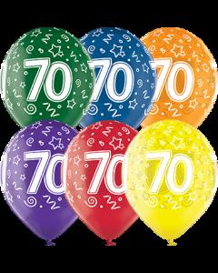 70th Birthday Crystal Green, Crystal Yellow, Crystal Orange, Crystal Royal Red, Crystal Quartz Purple und Crystal Blue Sortiment (Transparent) Latexballon Rund 12in/30cm
