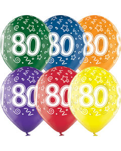 80th Birthday Crystal Green, Crystal Yellow, Crystal Orange, Crystal Royal Red, Crystal Quartz Purple und Crystal Blue Sortiment (Transparent) Latexballon Rund 12in/30cm