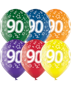 90th Birthday Crystal Green, Crystal Yellow, Crystal Orange, Crystal Royal Red, Crystal Quartz Purple und Crystal Blue Sortiment (Transparent) Latexballon Rund 12in/30cm