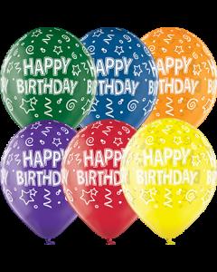 Happy Birthday Crystal Green, Crystal Yellow, Crystal Orange, Crystal Royal Red, Crystal Quartz Purple und Crystal Blue Sortiment (Transparent) Latexballon Rund 12in/30cm