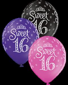 Sweet 16 Pastel Rose, Pastel Royal Lilac und Pastel Black Sortiment Latexballon Rund 12in/30cm