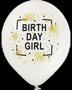 Birthday Girl Metallic Pearl Latexballon Rund 12in/30cm