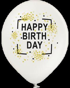 Happy Birthday Metallic Pearl Latexballon Rund 12in/30cm