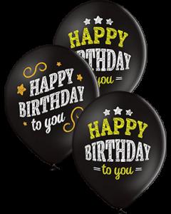 Happy Birthday Pastel Black Latexballon Rund 12in/30cm