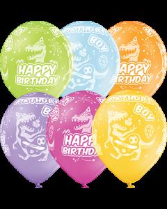 Birthday Boy Pastel Apple Green, Pastel Bright Yellow, Pastel Orange, Pastel Rose, Pastel Lavender und Pastel Sky Blue Sortiment Latexballon Rund 12in/30cm