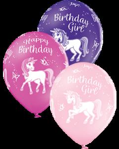 Birthday Unicorn Pastel Pink, Pastel Rose und Pastel Royal Lilac Sortiment Latexballon Rund 12in/30cm