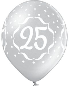 25th Anniversary Metallic Silver Latexballon Rund 12in/30cm